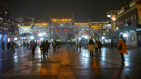 Timelapse Running Tram & People Walk On Chinatown,China Beijing Night Market.	 stock footage