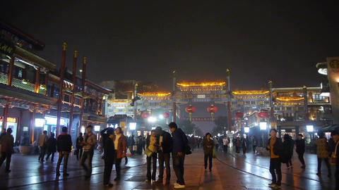 timelapse crowd walk on Chinatown,China Beijing night... Stock Video Footage