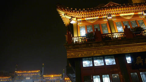 China Beijing retro ancient building at night Stock Video Footage