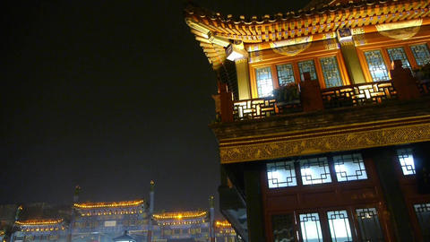 China Beijing retro ancient building at night CG動画