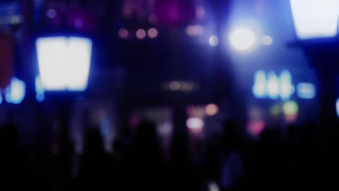 Cool colors of blur busy crowd silhouette on business... Stock Video Footage