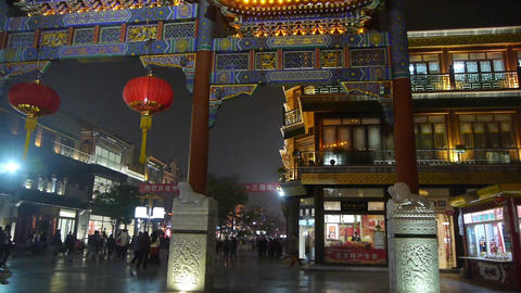 timelapse crowd walk in China Beijing night... Stock Video Footage