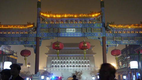crowd walk on Chinatown,China Beijing night market,memorial arch & lantern Footage