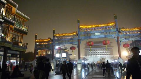 crowd walk on Chinatown,China Beijing night... Stock Video Footage