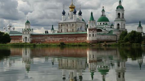 monastery on water Stock Video Footage