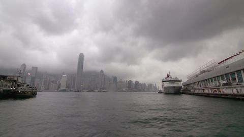 Busy Traffic in Victoria Harbour Footage