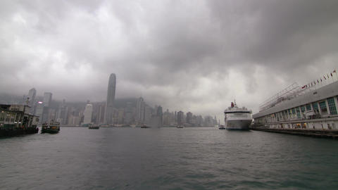 Busy Traffic in Victoria Harbour Stock Video Footage