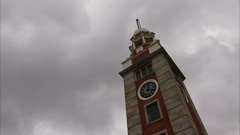 Clock Tower with Cloudy Sky Stock Video Footage