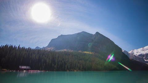 Sunny day at Lake Louise with people boating Stock Video Footage