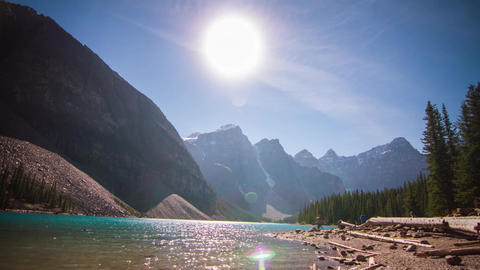 Sunny day at Lake Louise with people boating Footage