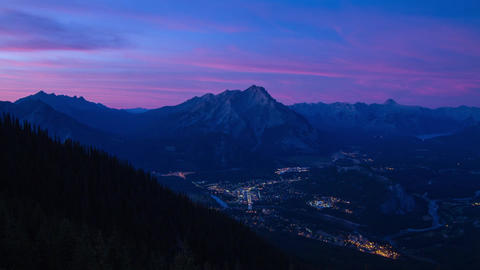 After Sunset At Banff With Light Running Around The City Timelaspe stock footage