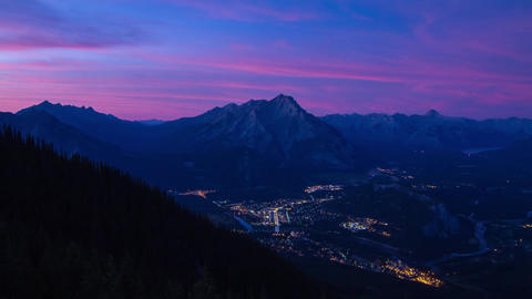 After Sunset at Banff with night traffic Stock Video Footage