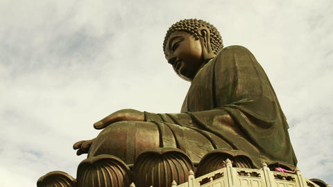 Big Buddha with cloudy sky Stock Video Footage