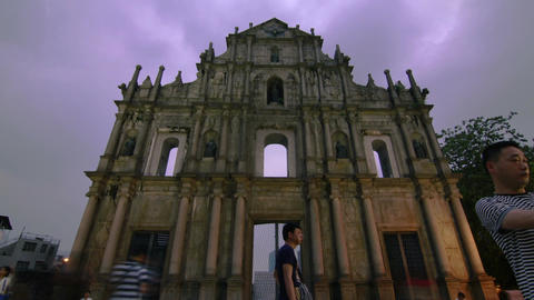 Ruins Clouds Timelapse in Macau Footage