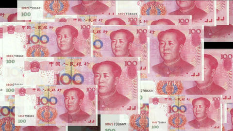 Float looming 100 RMB bills Animation