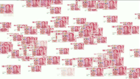 Float looming 100 RMB bills Stock Video Footage