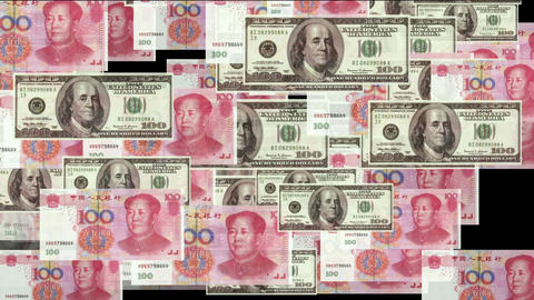 Float looming 100 dollar & 100 RMB bills,exchange rate Animation