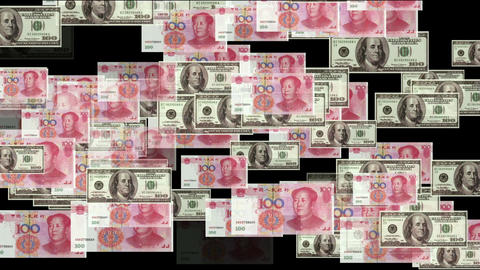 Float looming 100 dollar & 100 RMB bills,exchange rate Stock Video Footage
