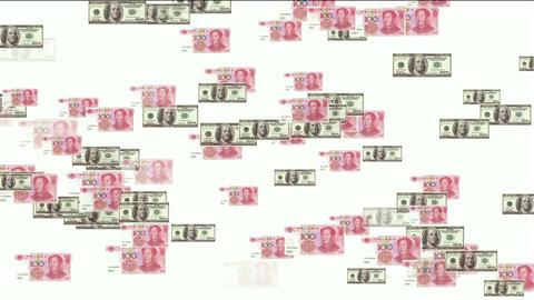 Float looming 100 dollar & 100 RMB bills,exchange rate Stock Video Footage