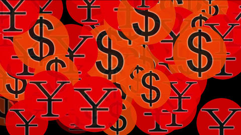 Float USA dollars & China RMB symbol,exchange rate Animation