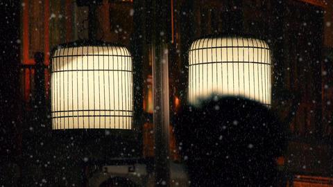 hazy streetlight & people sketch at night Stock Video Footage