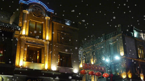 china old style building in night,falling snowflake Stock Video Footage
