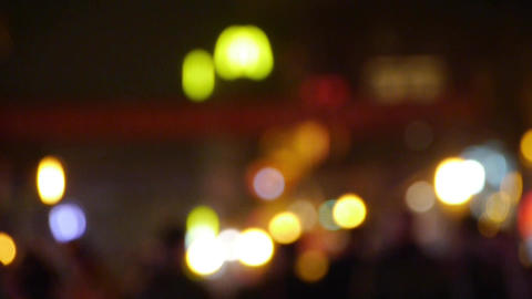 blur busy crowd silhouette & neon light circle on... Stock Video Footage