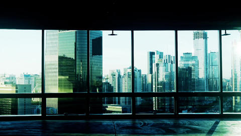from building window to view modern architecture in... Stock Video Footage