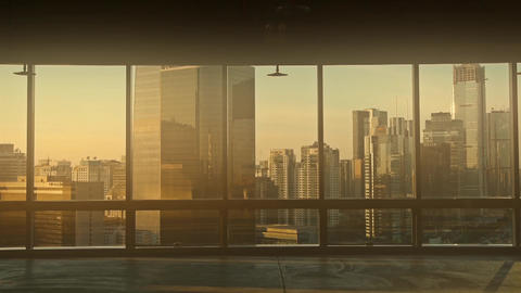 view modern urban architecture in dust,dusk sun pass... Stock Video Footage
