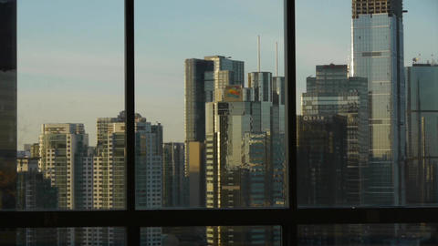 view modern urban high-rise from windows,Beijing business... Stock Video Footage