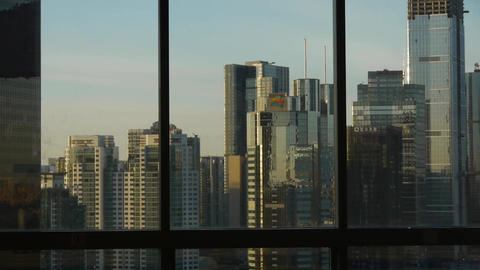 view modern urban high-rise from windows,Beijing business financial center Footage