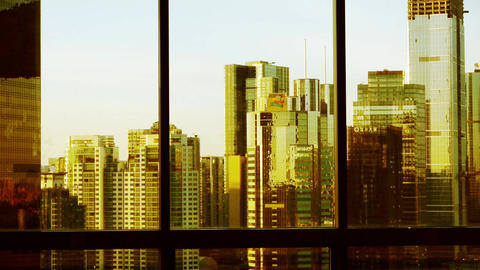 view modern urban high-rise from windows in dusk,business financial center Footage