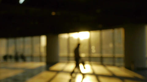 blur backgrounds of a tired man walking in business... Stock Video Footage