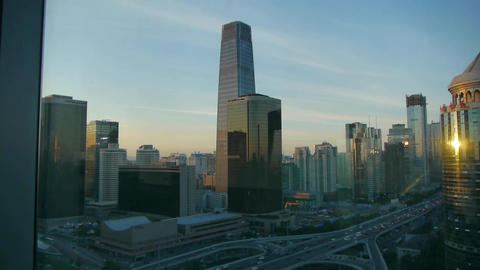 from building window to view modern architecture at... Stock Video Footage