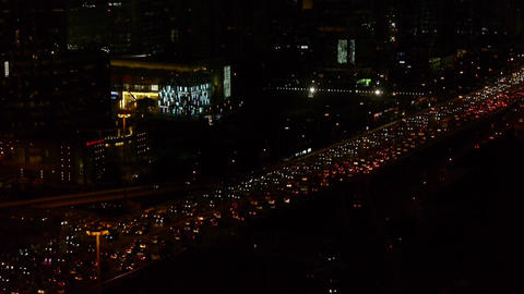 timelapse-traffic on overpass in the night city Stock Video Footage