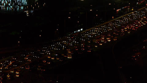 traffic timelapse on overpass in the night city Stock Video Footage