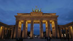 Brandenburg gate in Berlin timelapse from dusk until night Stock Video Footage