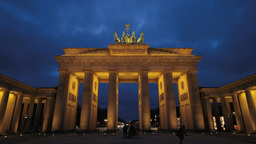 Brandenburg Gate In Berlin Timelapse From Dusk Until Night stock footage