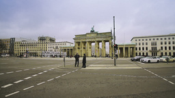 Street traffic in front of the Brandenburg Gate in Berlin Stock Video Footage