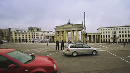 Street Traffic In Front Of The Brandenburg Gate In Berlin stock footage