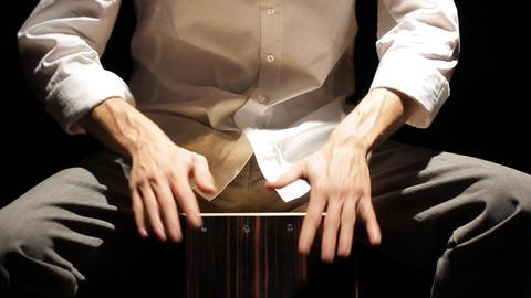 drumming rhythm kahon cajon music instrument concert play... Stock Video Footage