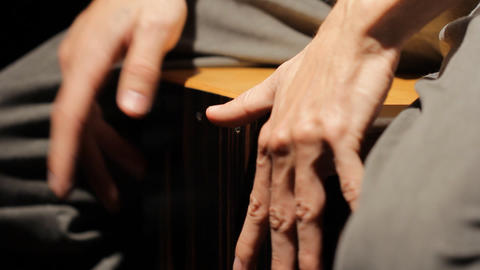 drumming rhythm kahon cajon music instrument concert play... Stock Video Footage