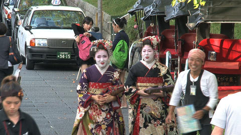 Geishas in the street of Kyoto Stock Video Footage