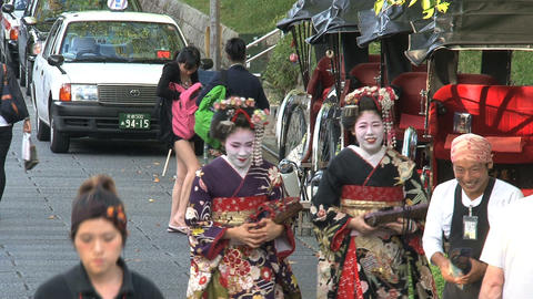 Geishas in the street of Kyoto Footage