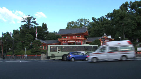 Gion kyoto ambulance Stock Video Footage