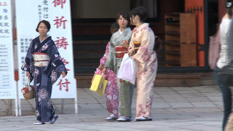 Girls kimono Yasaka Shrine Stock Video Footage