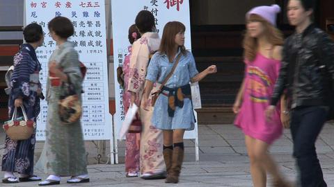 Girls kimono Yasaka Shrine Footage
