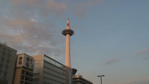Kyoto tower timelapse Stock Video Footage