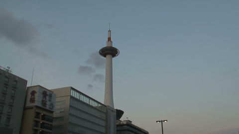 Kyoto Tower Timelapse stock footage