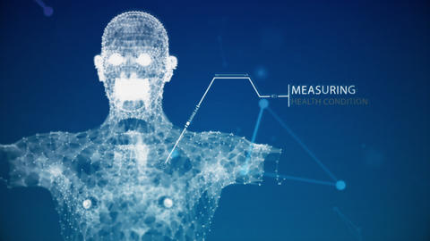 Blue futuristics human body anatomy health scanning by augmented reality with data Animation